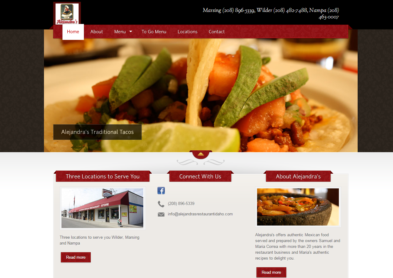 Our work esc web solutions for Alejandra s mexican cuisine