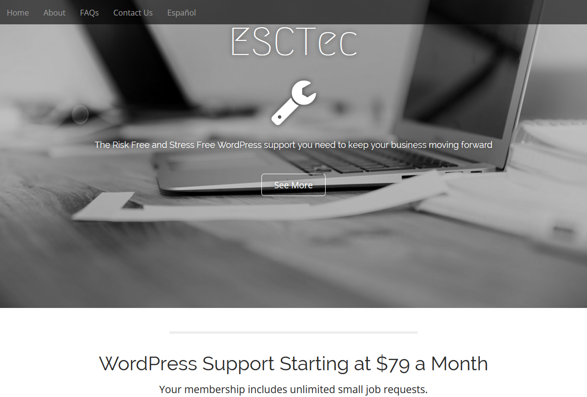 ESCTec – WordPress Support Website Design